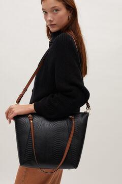 Cortefiel Animal print shopper bag Black