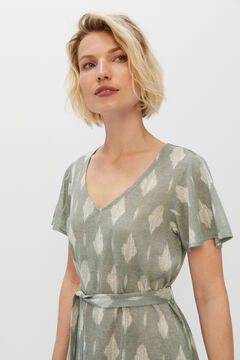 Cortefiel Linen effect jersey-knit dress Green