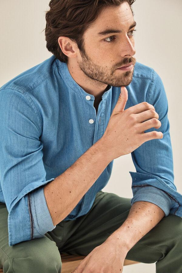 Cortefiel Camisa lisa cuello mao Azul b1661b873535