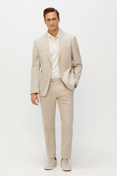 Cortefiel Slim structure coordinated trousers  Stone