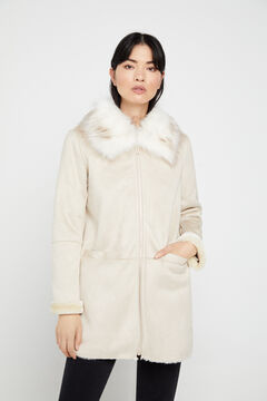 Cortefiel Double-faced coat with collar Ecru