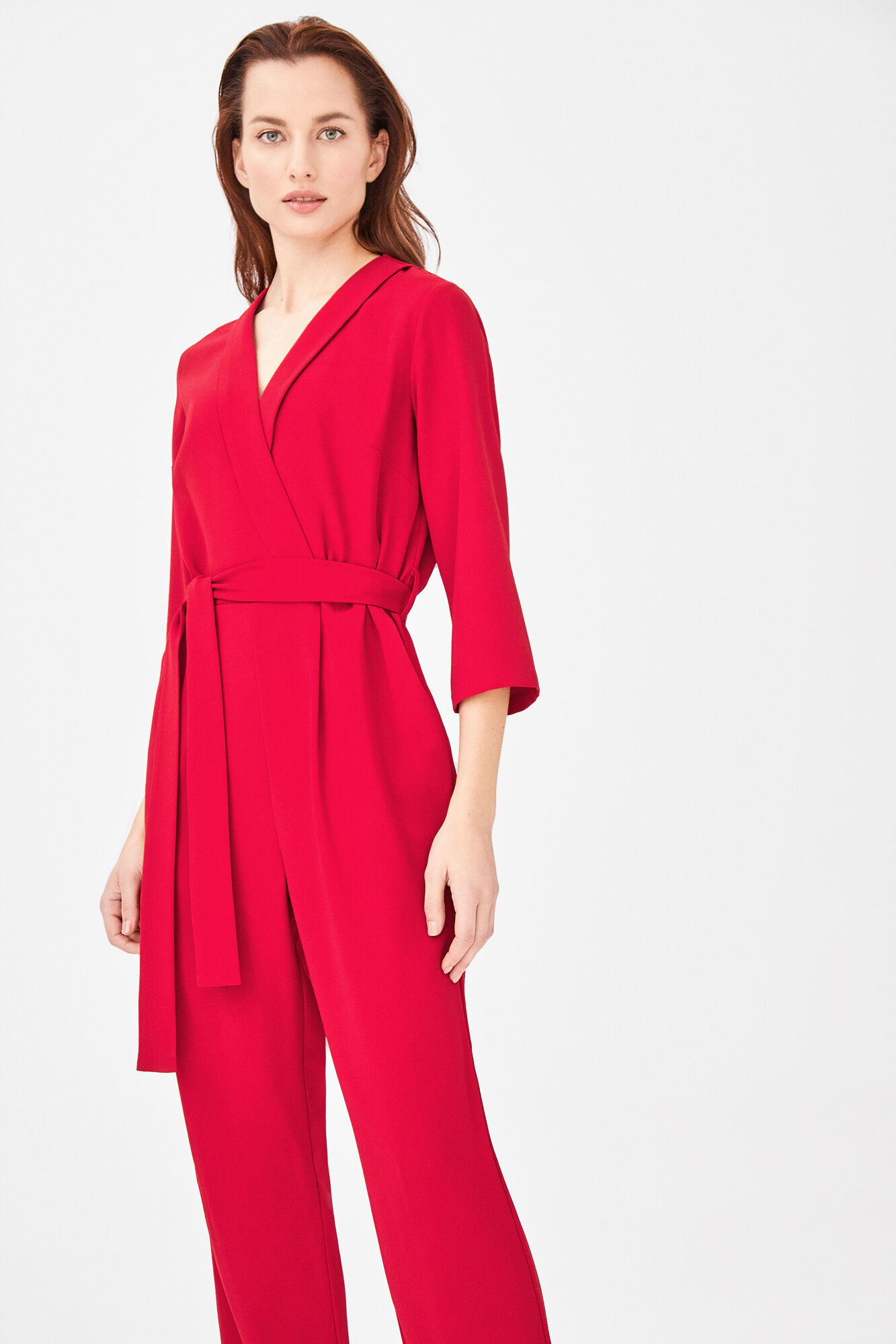 f11ae3d42563 Long jumpsuit with short flounced sleeves