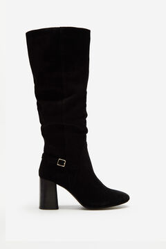 Cortefiel Slouchy leather boot Black