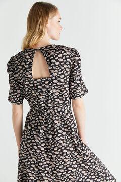 Cortefiel Gathered detail jersey-knit dress Black