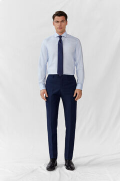 Cortefiel Slim fit blue false plain trousers Navy