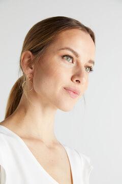 Cortefiel DONNA drop earrings - Crystal - Gold Beige