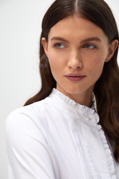 Cortefiel Embroidered placket shirt White