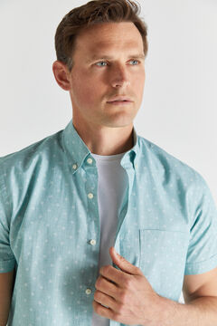 Cortefiel Short-sleeved end-on-end shirt Green