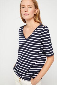 Cortefiel Essential organic cotton V-neck t-shirt Blue