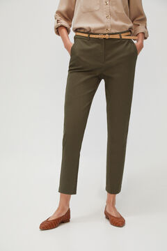 Cortefiel Cropped trousers with belt. Dark gray