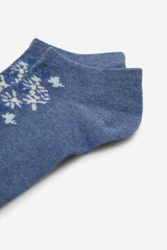 Cortefiel Floral print ankle socks Royal blue