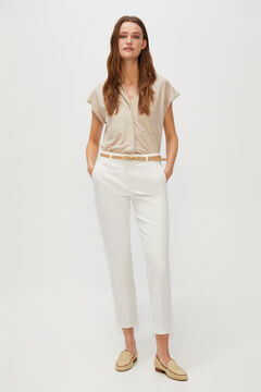 Cortefiel Cropped trousers with belt. White