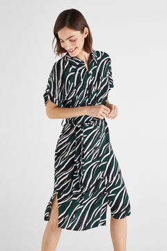 Cortefiel Animal print cargo dress Green