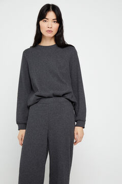 Cortefiel Ribbed jersey-knit trousers Gray
