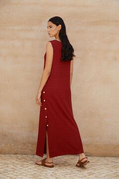 Cortefiel Vestido midi de canalé Rojo