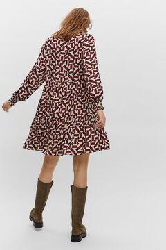 Cortefiel Vestido manga comprida e decote em bico Rosa