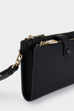 Cortefiel Wallet with removable strap Black
