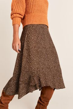 Cortefiel Full flounced midi skirt Black