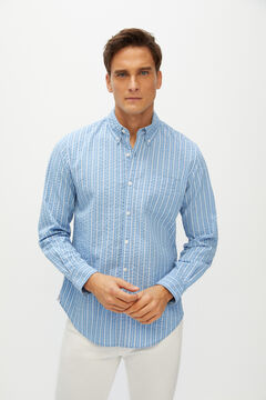 Cortefiel Striped organic cotton seersucker shirt Blue
