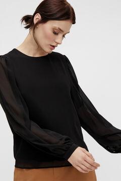 Cortefiel Blusa tejido sostenible Negro