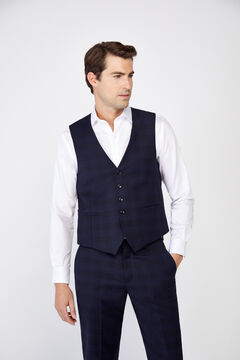 Cortefiel Slim fit checked suit waistcoat Navy