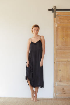 Cortefiel Vestido estilo lingerie acetinado Preto