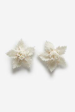 Cortefiel Flower earrings White