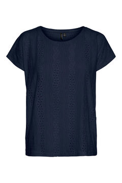 Cortefiel Perforated embroidery top  Navy