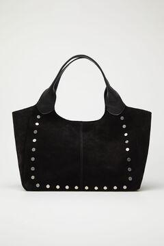Cortefiel Suede and napa bag Black