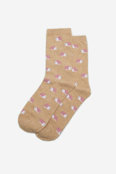 Cortefiel Long hedgehog print socks Camel