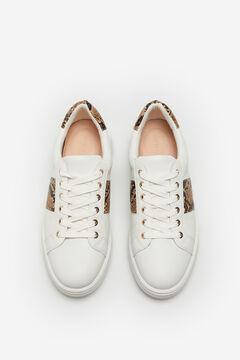 Cortefiel Ultralight snakeskin print sneaker White