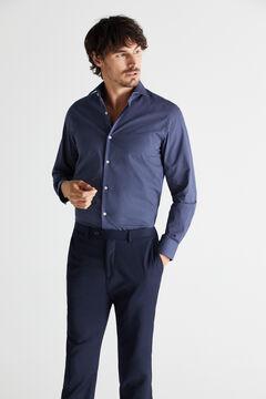 Cortefiel Printed slim fit stain resistant dress shirt Blue