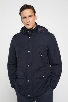 Cortefiel Short hooded parka with four pockets Navy