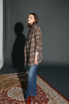 Cortefiel Oversize double-breasted blazer Natural