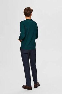 Cortefiel Classic organic cotton jumper  Pistachiogreen