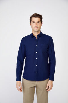 Cortefiel Plain organic cotton Oxford shirt Navy