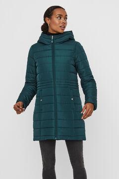 Cortefiel Long quilted coat with hood Pistachiogreen