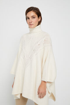 Cortefiel Cable knit poncho Ecru