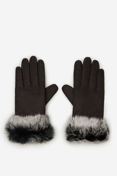 Cortefiel Nylon and genuine fur gloves Black