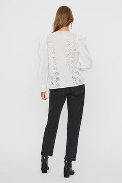 Cortefiel Embroidered organic cotton blouse White
