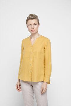 Cortefiel Linen shirt Yellow
