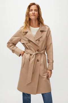 Cortefiel Long double-breasted trench coat Camel
