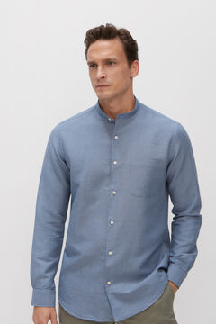 Cortefiel Cotton and linen mandarin collar shirt Royal blue
