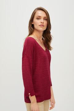 Cortefiel Textured metallic jumper Red