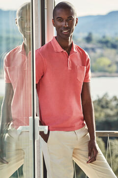 Cortefiel Short-sleeved logo polo shirt Coral