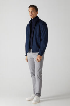 Cortefiel Cotton/cashmere polo neck jumper Navy