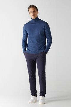 Cortefiel Cotton/cashmere polo neck jumper Turquoise