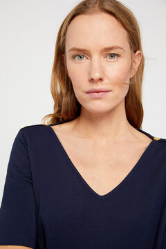 Cortefiel Essential organic cotton V-neck t-shirt Navy
