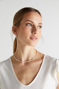 Cortefiel VIRINO short necklace - Pearl - Gold Ecru