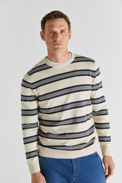 Cortefiel Striped crew neck jumper   Ecru